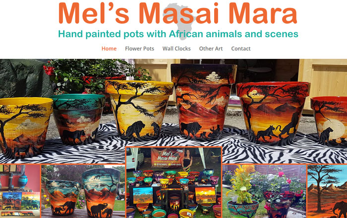 Mel's Masai Mara hand painted flower pots with African animals